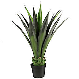 LCG Floral 36-Inch Artificial Agave Plant with Black Plastic Pot