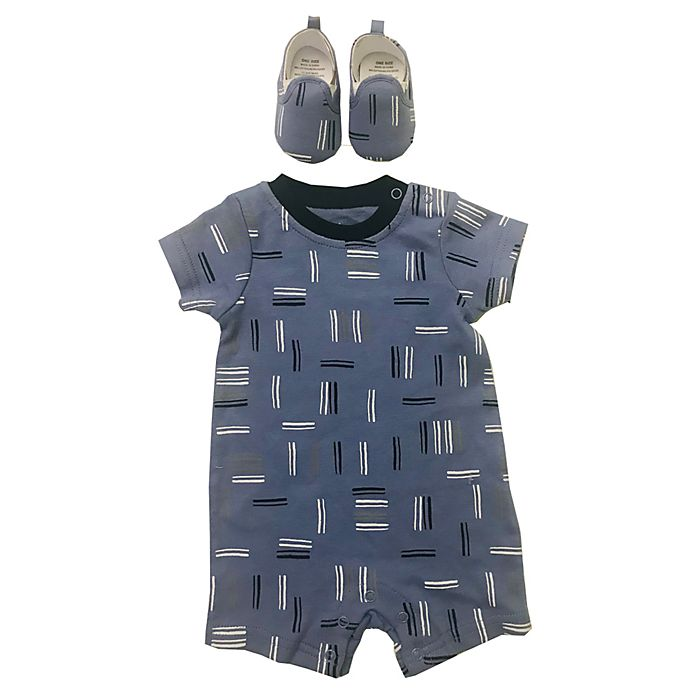 Alternate image 1 for Sterling Baby 2-Piece Printed Short Sleeve Romper and Shoe Set