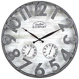 FirsTime & Co. Shiplap Farmhouse Outdoor Clock in Grey