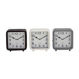 Ridge Road Décor Metal Square Traditional Clocks (Set of 3)