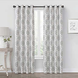 Quinn Medallion 108-Inch Grommet 100% Blackout Window Curtain Panel in Charcoal (Single)