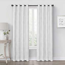 Quinn Medallion 63-Inch Grommet 100% Blackout Window Curtain Panel in White (Single)