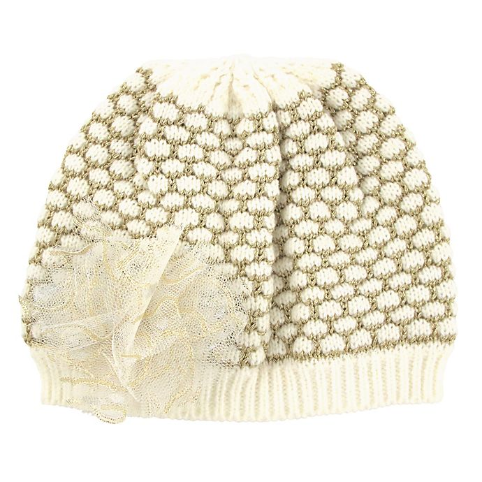 Alternate image 1 for Flower Knit Beanie in Ivory