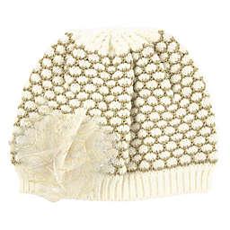 Newborn Flower Knit Beanie in Ivory