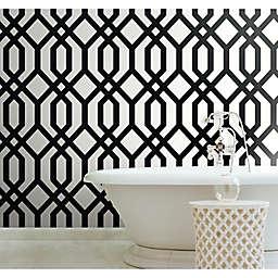 RoomMates® Gazebo Lattice Peel & Stick Wallpaper in Black/White