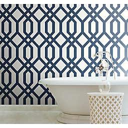 RoomMates® Gazebo Lattice Peel & Stick Wallpaper in Blue/White