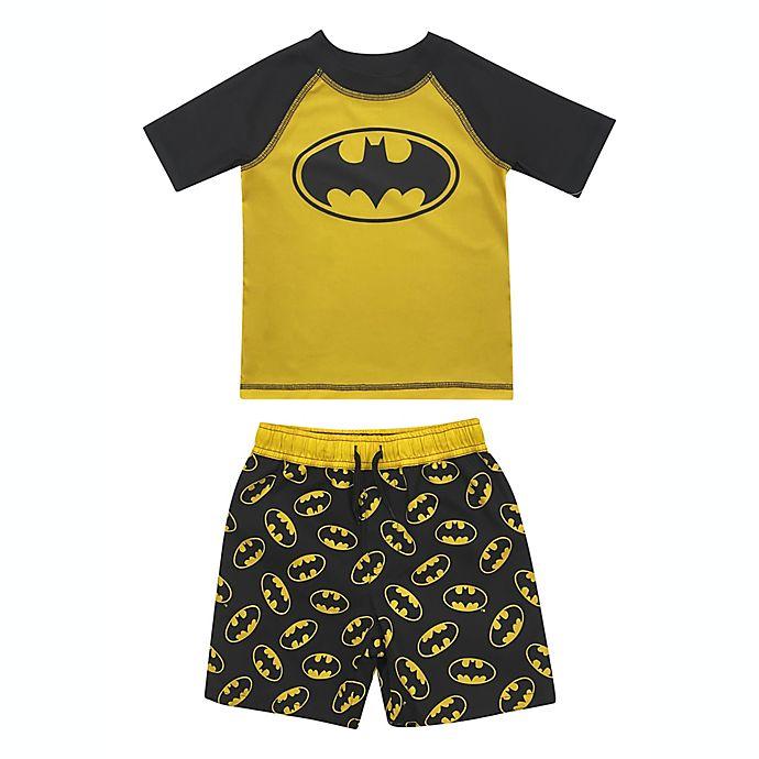 Alternate image 1 for 2-Piece Batman Rashguard and Swim Trunk Set in Yellow/Black