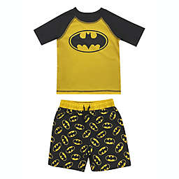 2-Piece Batman Rashguard and Swim Trunk Set in Yellow/Black