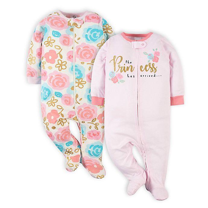 Alternate image 1 for Gerber® 2-Pack Princess Sleep 'n Play Footies in Pink