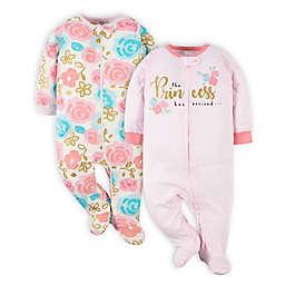 Gerber® 2-Pack Princess Sleep 'n Play Footies in Pink