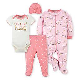 Gerber® 4-Piece Princess Footie, Bodysuit, Pant, and Hat Set in Pink