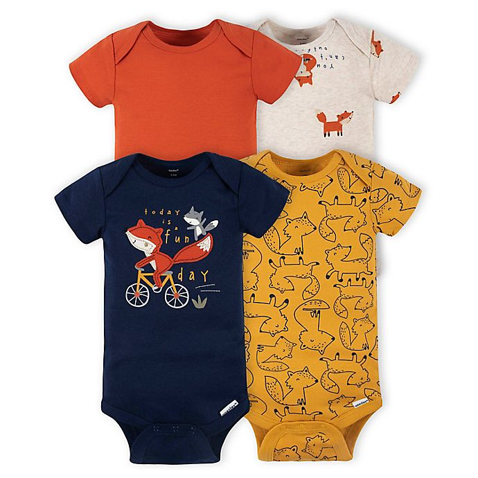 Alternate image 1 for Gerber® Onesies® Brand 4-Pack Fox Short Sleeve Bodysuits in Orange