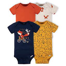 Gerber® Onesies® Brand 4-Pack Fox Short Sleeve Bodysuits in Orange
