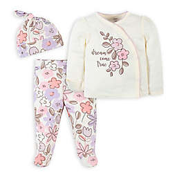 Gerber® 3-Piece Bunny Side Snap Shirt, Pant, and Hat Take-Me-Home Set in Purple