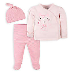 Gerber® 3-Piece Leopard Shirt, Pant, and Hat Take-Me-Home Set in Pink
