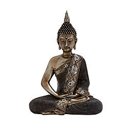 Ridge Road Décor Polystone Buddha Sculpture with Brass Finish