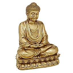Ridge Road Decor Polystone Glam Buddha Sculpture in Gold