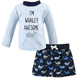 Hudson Baby® 2-Piece Whaley Rashguard and Swim Trunk Set in Blue