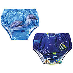Hudson Baby® 2-Pack Reef Dolphin Swim Diapers in Blue