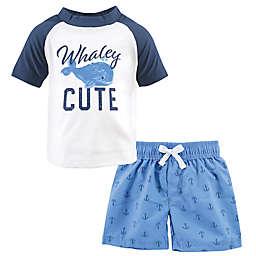 Hudson Baby® 2-Piece Whaley Cute Rashguard and Swim Trunk Set in Blue