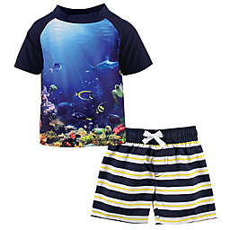 Hudson Baby® 2-Piece Coral Reef Rashguard and Swim Trunk Set in Blue