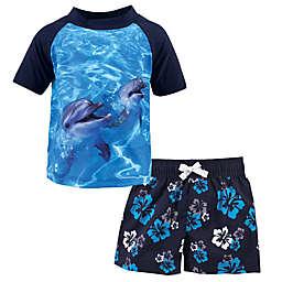 Hudson Baby® 2-Piece Dolphin Rashguard and Swim Trunk Set in Blue