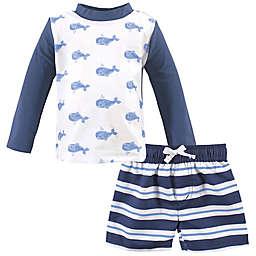 Hudson Baby® 2-Piece Swim Blue Whale Rashguard Set in Blue