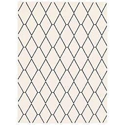 ECARPETGALLERY Macy Diamante 7'10 x 10'2 Area Rug in White/Navy