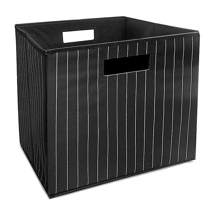 Alternate image 1 for Squared Away™ 13-Inch Collapsible Storage Bin in Black Stripe