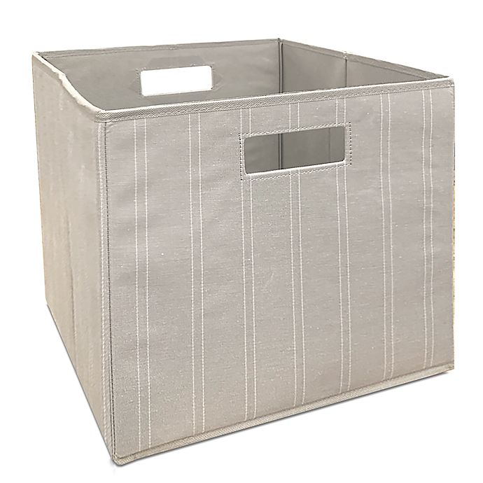 Alternate image 1 for Squared Away™ 13-Inch Collapsible Storage Bin in Linen Stripe