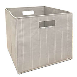 Squared Away™ 13-Inch Collapsible Storage Bin in Linen Stripe