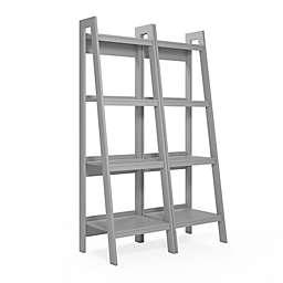 Ameriwood Home Lehigh 4-Shelf Ladder Bookcase Bundle in Dove Grey