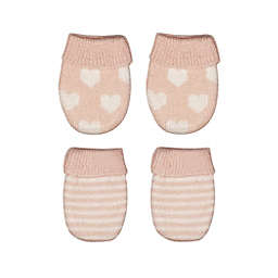 NYGB® Size 0-12M 2-Pack Hearts and Stripes Mittens in Pink/Ivory