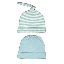 NYGB™ Preemie 2-Pack Striped Knot Hat Set in Blue/White