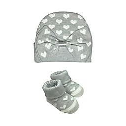 NYGB® Size 0-12M Candy Heart Hat and Booties Set in Cloud