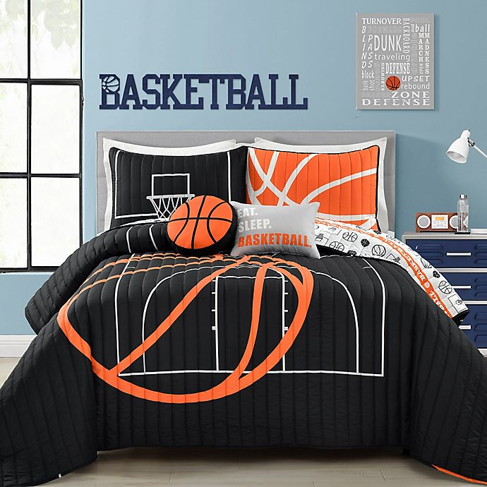 Alternate image 1 for Lush Decor Basketball Game 5-Piece Reversible Full/Queen Quilt Set in Black/Orange