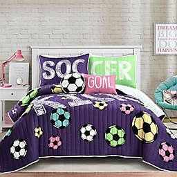 Lush Decor Girl's Soccer Kick Reversible Quilt Set in Purple