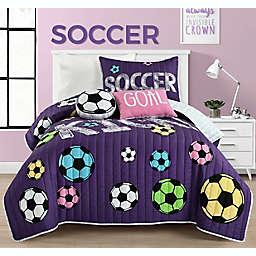 Lush Decor Girl's Soccer Kick 4-Piece Reversible Twin Quilt Set in Purple