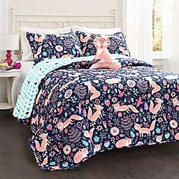 Lush Decor Pixie Fox Reversible Quilt Set in Navy/Pink