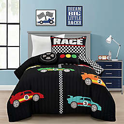 Lush Decor Racing Cars 4-Piece Reversible Twin Quilt Set in Black