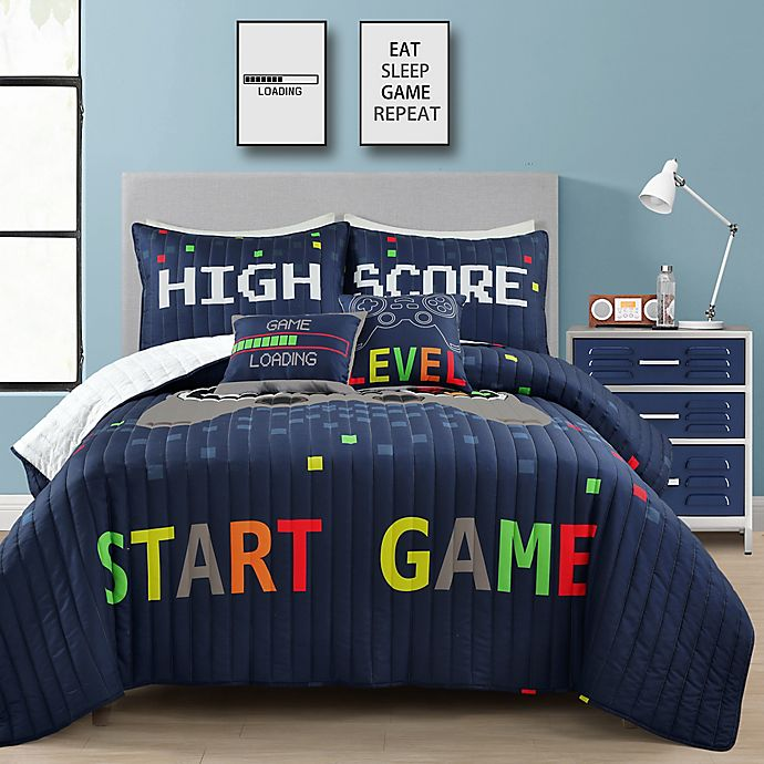 Alternate image 1 for Lush Decor Video Games Reversible Quilt Set in Navy