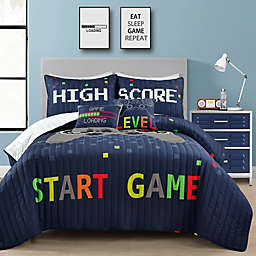 Lush Decor Video Games Reversible Quilt Set in Navy