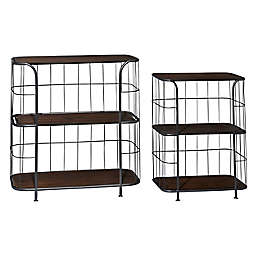 Ridge Road Décor Wood and Metal 3-Tier Industrial Wall Shelves (Set of 2)