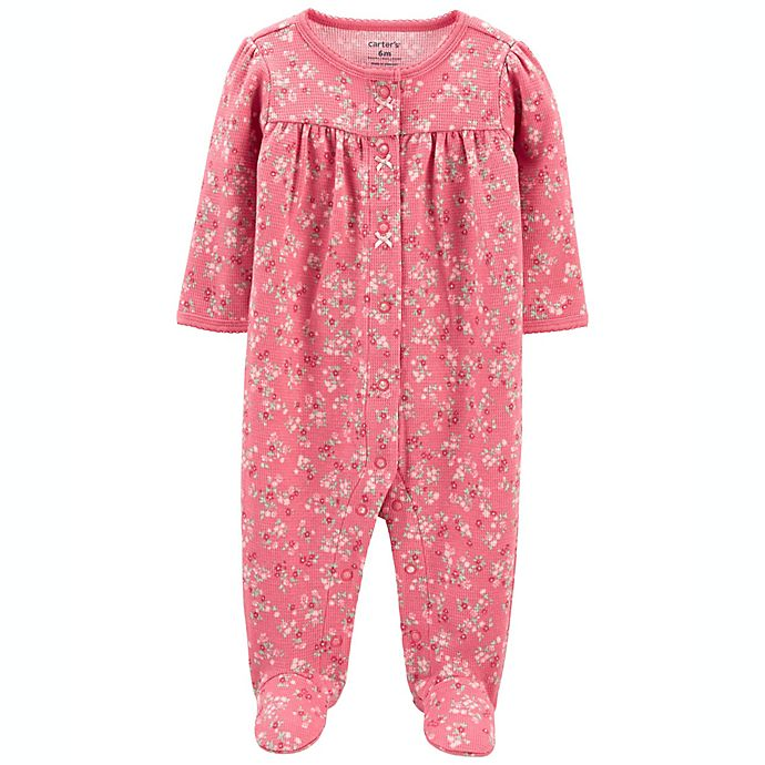 Alternate image 1 for carter's® Floral 2-Way Zip Cotton Sleep & Play with Front Pocket