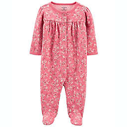 carter's® Floral 2-Way Zip Cotton Sleep & Play with Front Pocket