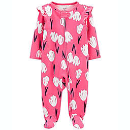 carter's® Size 3M Floral 2-Way Zip Cotton Sleep & Play in Pink