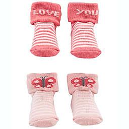 carter's® Newborn 2-Pack Love You Keepsake Booties in Pink