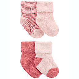 carter's® Newborn 4-Pack Chenille Booties in Pink