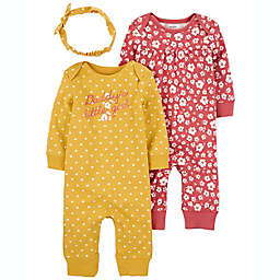 """carter's® Size 6M 3-Piece """"Daddy's Girl"""" Jumpsuits with Headwrap Set"""