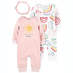 carter's® Newborn 3-Piece Rainbow Jumpsuits with Headwrap Set in Pink